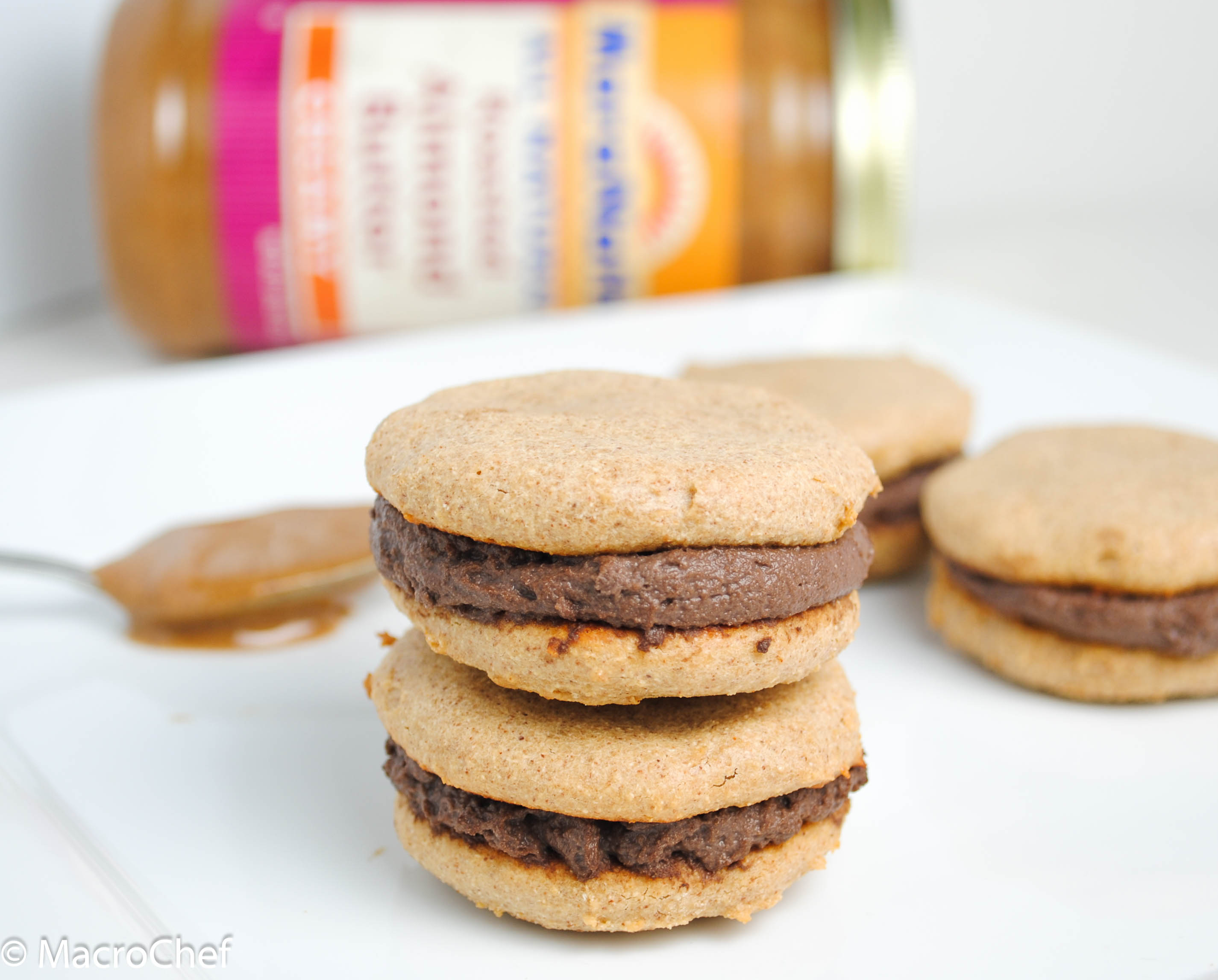 Chocolate Almond Protein Sandwich Cookies | MacroChef