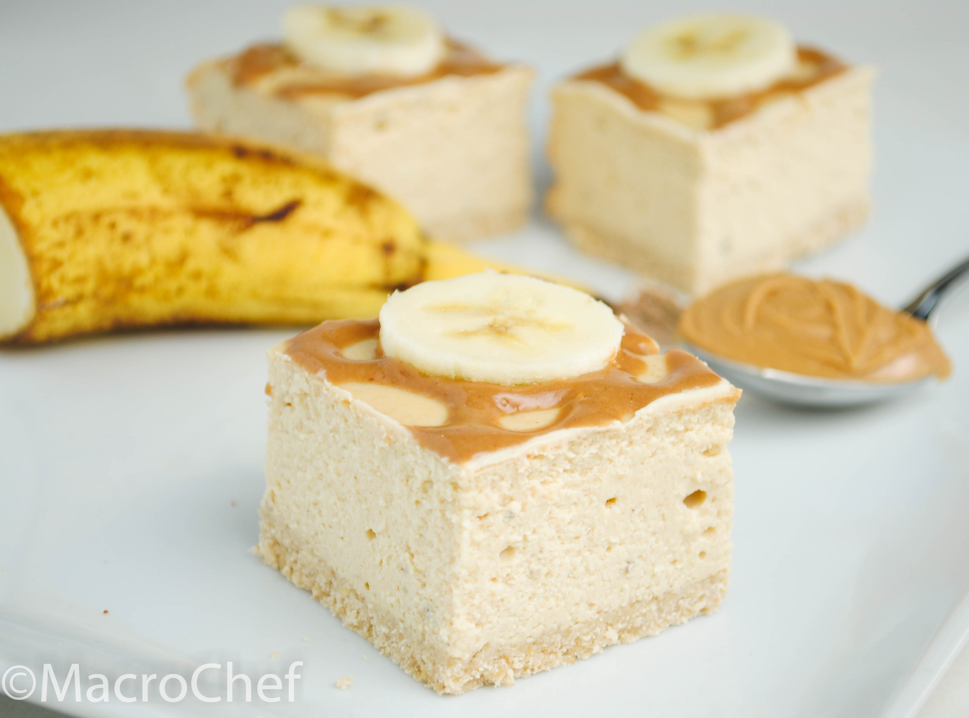 Peanut Butter Banana Protein Cheesecake Squares | MacroChef